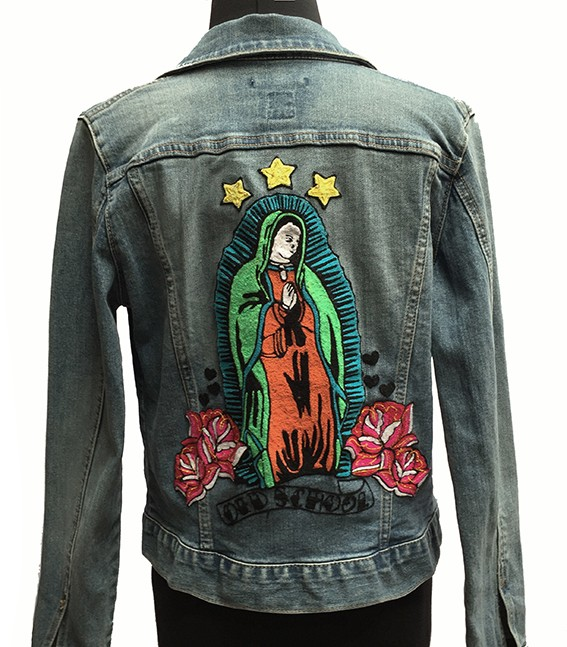 Embroidered jean jacket, Guadalupe - Size M