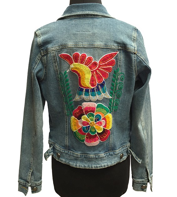 Embroidered jean jacket, Bird and flower - Size M