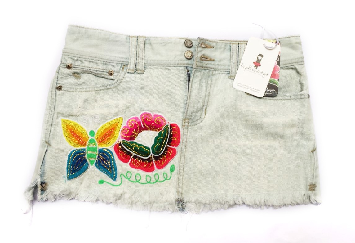San Pablo Embroidery Mini Skirt, Size S