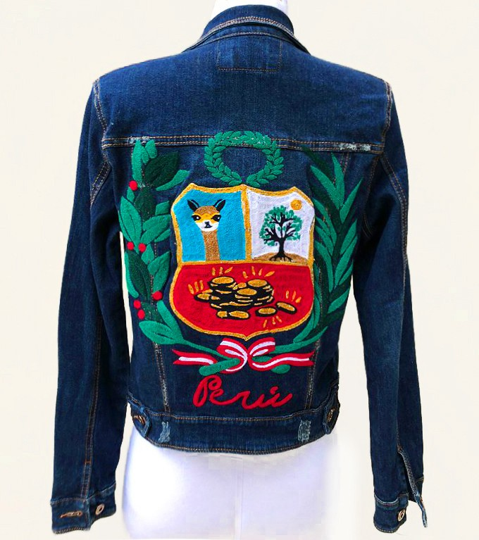 Embroidered denim jacket, with Peruvian shield, Size  S - M