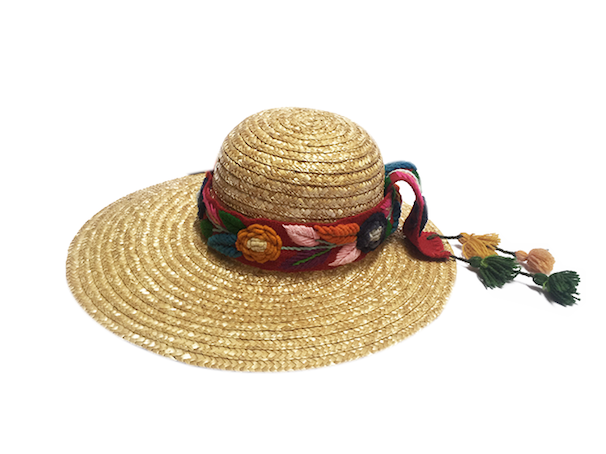 Straw hats with huamanga embroidery