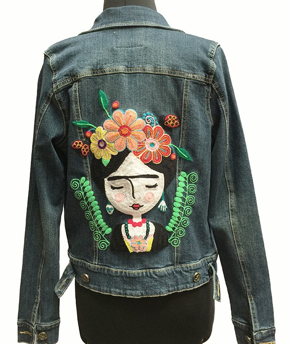Embroidered jean jacket, Frida Khalo - Size M