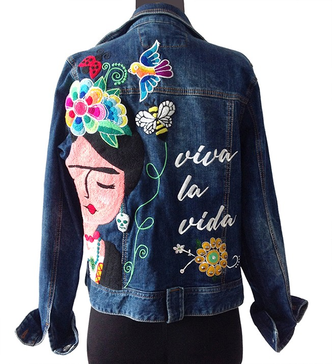 Denim Jacket with Frida Khalo, Size M