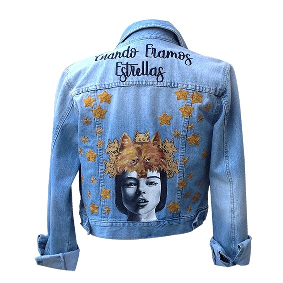 Embroidered and painted denim jacket, Size S