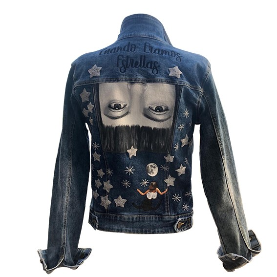 Embroidered and painted denim jacket, Size S - M - L