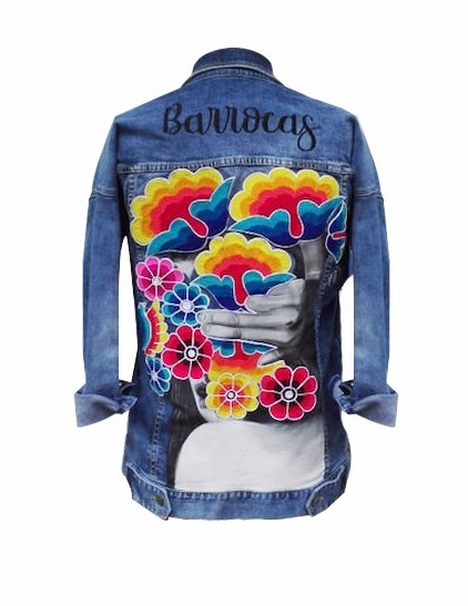 Embroidered and painted denim jacket, Size L
