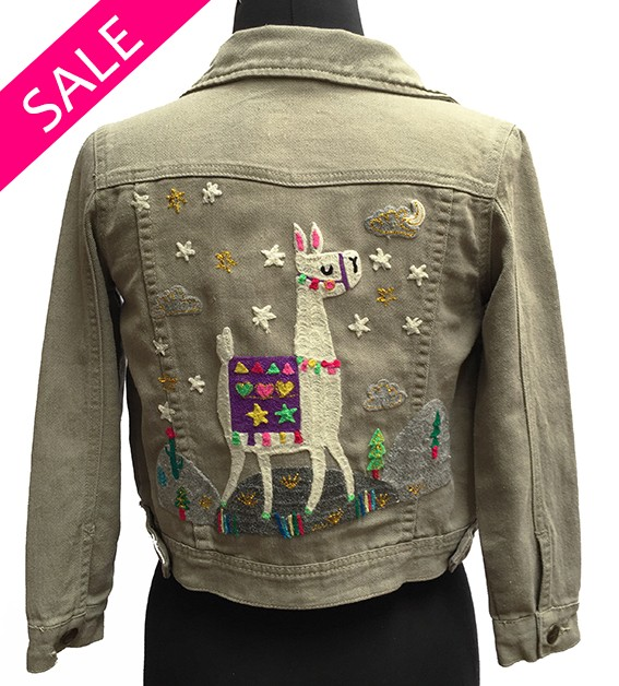 Embroidered jean jacket, Llama Style - Size 8
